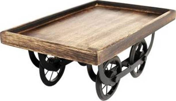 Unity Handicrafts Serving Tray for Dining & Tableware, Table Decor, Kitchen Serve ware Dining Accessory, Breakfast Coffee Table Tray, Butler Serving Tray Cup Tray Serving Set Thelaa Shape Wooden Snacks Serving Platter with Movable Wheels Tray