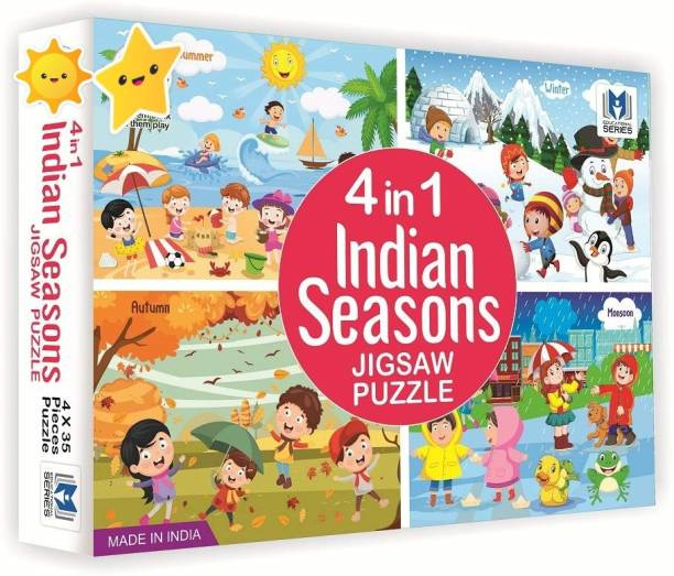 shopviashipping 4 in 1 indian Seasons jigsaw puzzle for kids. 4 jigsaw puzzles 35 pieces each (140 Pieces)