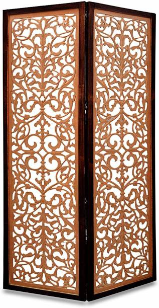 Artesia Handcrafted 2 Panel Wooden Room Partition & Room Divider (Brown) Solid Wood Decorative Screen Partition