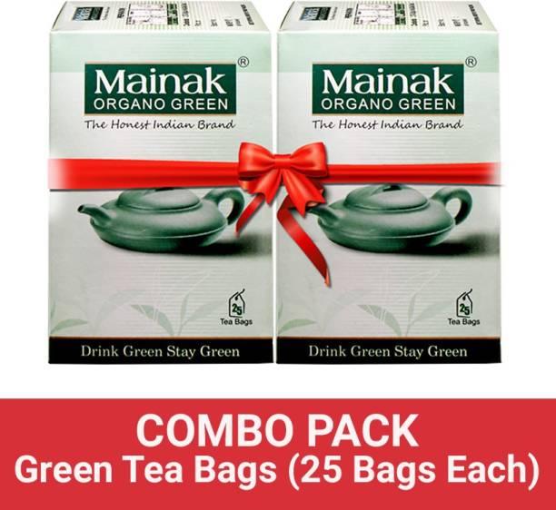 Mainak Pure and Natural Organo Unflavoured Green Tea Bags Box