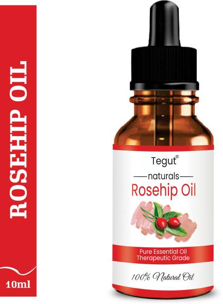 Tegut Rosehip Seed Oil - Cold Pressed Pure & Undiluted Carrier Oil for Skin Lightening, Stretch Marks, Acne Scars, Wrinkles, Aging (10 ml) (Pack of 1)