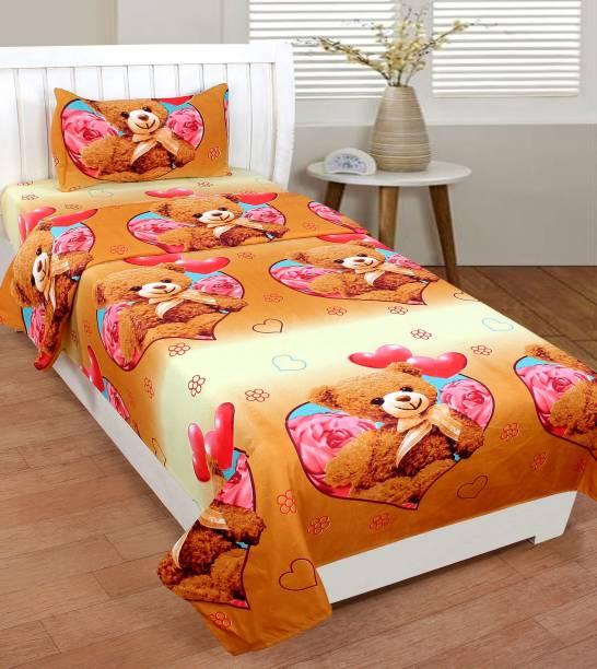 Fashion Town 180 TC Microfiber Single 3D Printed Bedsheet