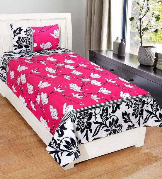Fashion Town 180 TC Microfiber Single Floral Bedsheet