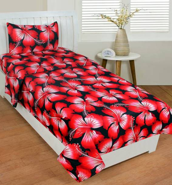 Fashion Town 180 TC Microfiber Single Self Design Bedsheet