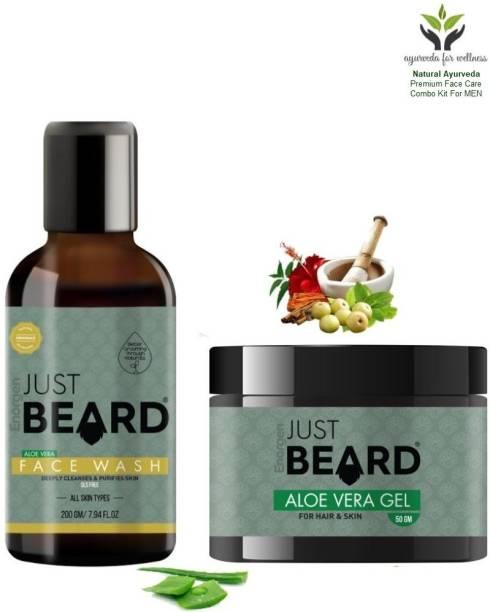 Enorgen JUSTBEARD Natural Ayurveda Aloe Vera Face Wash for Men 200g and Aloe Vera Gel For Men Hair & Skin 50g |Men's Face Care Combo Kit