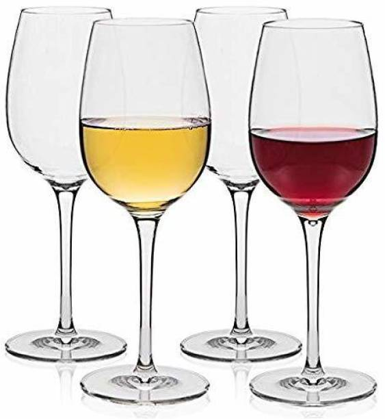 BRIGHTLIGHT (Pack of 4) red and White Wine Glass Big Wine for Beverage Party Glass Pack of 4 Glass Set