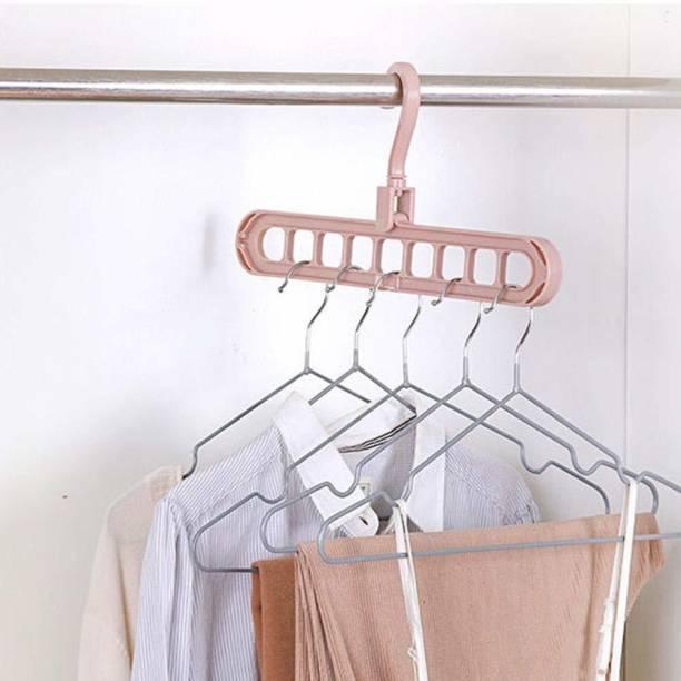 ZURU BUNCH Space Saver Folding Hangers for Clothes Wardrobe, Anti-Skid Plastic Magic Clothes Hanger - 360º Swivel Hook - 9-Holes Design Closet Organizer Plastic Hanger
