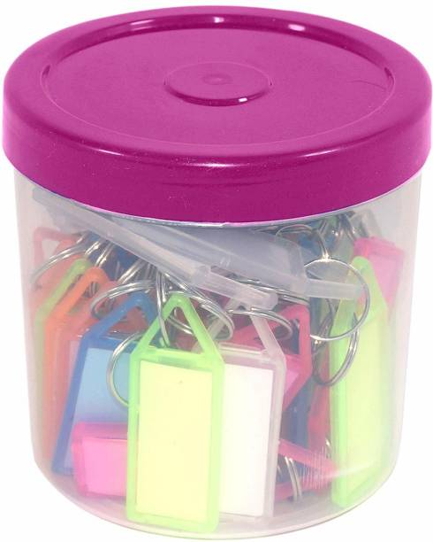 Speny Multicolor Keyring & Keychain with Name Tag Labels (Pack of 50) Key Chain