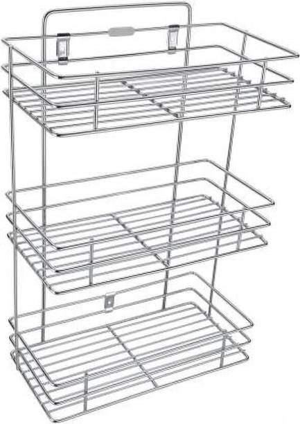 Mantavya Stainless Steel Wall mountable Shelves and Rack 3 Tier Steel Kitchen Rack Stainless Steel Wall Shelf