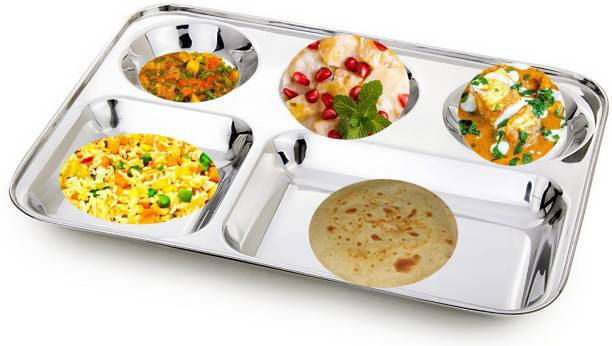 LEROYAL saya stainless steel 5 partition bhojan thali/patra with hight polish Sectioned Plate