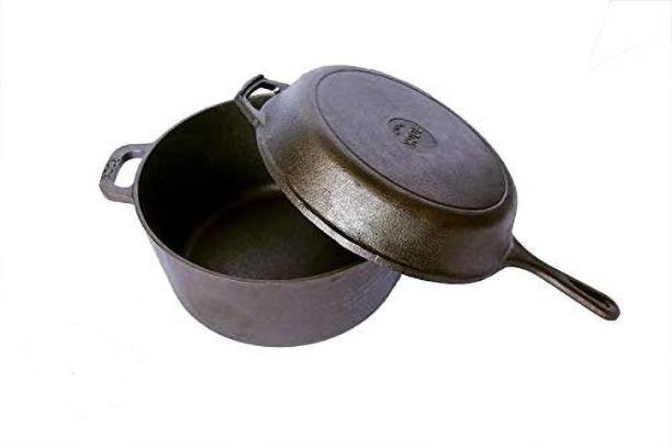 Rock Tawa Rock Tawa Cast Iron Combo 5Lts Dutch oven/10.5 Inch Pan Pre-Seasoned Pot 5 L with Lid