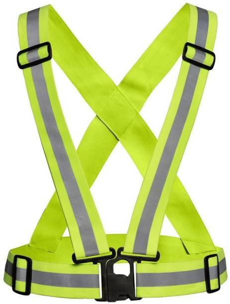SRC Safe High Visibility Protective Safety Reflective Vest Belt Jacket, Night Cycling Reflector Strips Cross Belt Stripes Adjustable Vest Safety Jacket