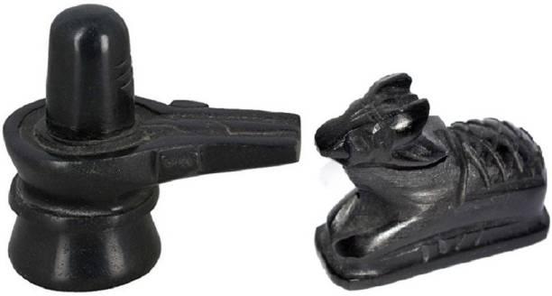 Astrodidi Black Marble Shivling and Nandi Ji (Small Size) Decorative Showpiece  -  5 cm