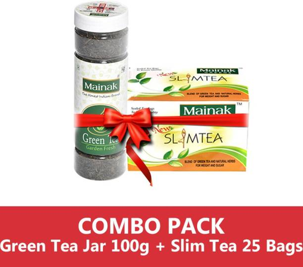 Mainak Slim Tea Bags with Indian Herbs + Unflavoured Green Tea Plastic Bottle