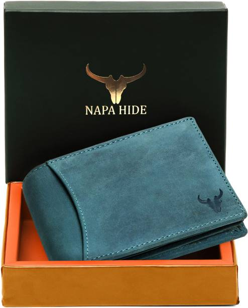 napa hide Men Blue Genuine Leather Wallet