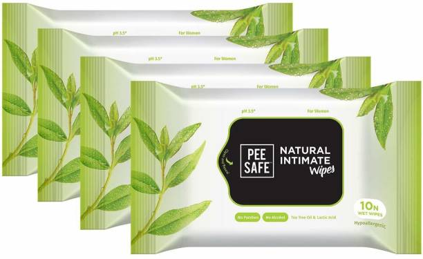 Pee Safe Natural Intimate Wipes - 10 wipes x 4 Intimate Wipes