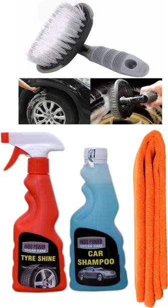 INDOPOWER TYRE SHINER SPRAY 250ml.+ CAR SHAMPOO 250ml.+ 1PC CAR MICROFIBER CLOTH +All Tyre Cleaning Brush Combo