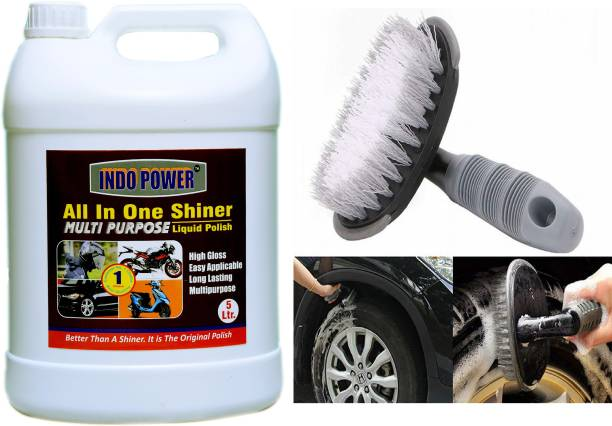 INDOPOWER TOP NEW491-ALL IN -ONE SHINER 5ltr.+All Tyre Cleaning Brush TOP495 Vehicle Interior Cleaner