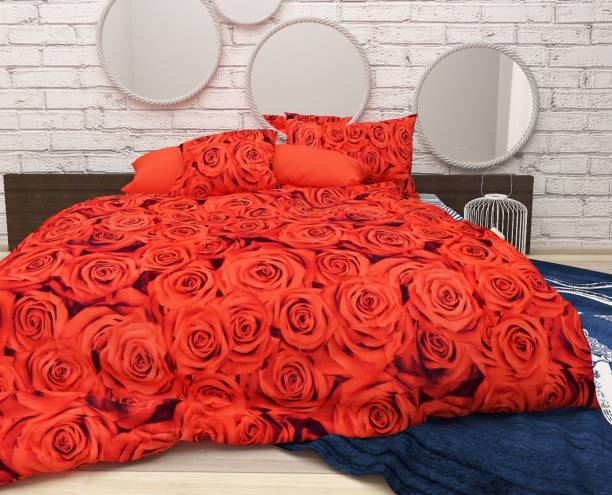 CHHAVI INDIA 104 TC Microfiber Double 3D Printed Bedsheet