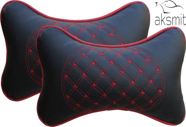 aksmit Black, Red Leatherite Car Pillow Cushion for Universal For Car