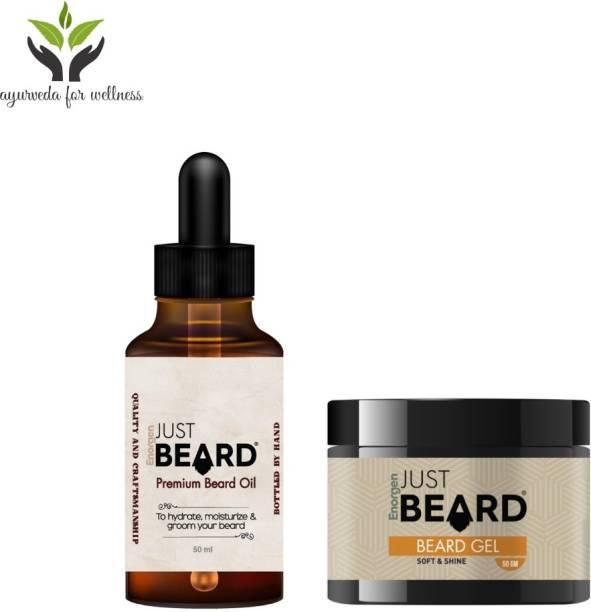 Enorgen JUSTBEARD Natural Premium Beard Oil 30ml and Natural Premium Beard Gel 50g ,Beard Care Combo Kit For Men