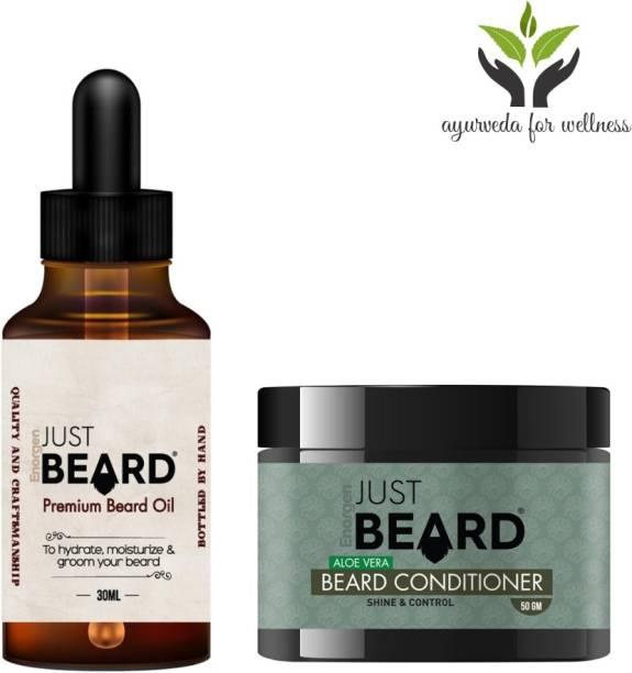 Enorgen JUSTBEARD Natural Premium Beard Oil 30ml and Natural Aloe Vera Beard Conditioner 50g,100% Natural & Traditional Ayurvedic Beard Growth |Beard Care Combo Kit