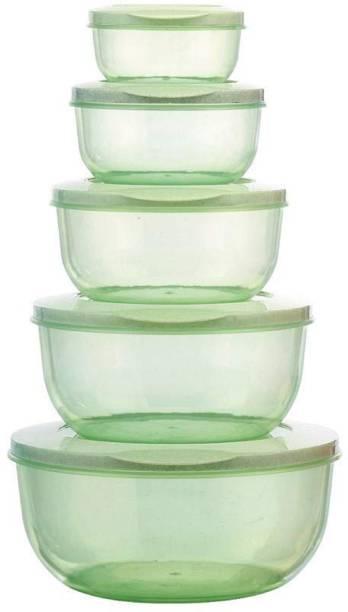 MOOZICO 5 pcs Plastic Container Set for Kitchen Refrigerator  - 2700 ml, 1700 ml, 1000 ml, 580 ml, 290 ml Plastic Fridge Container