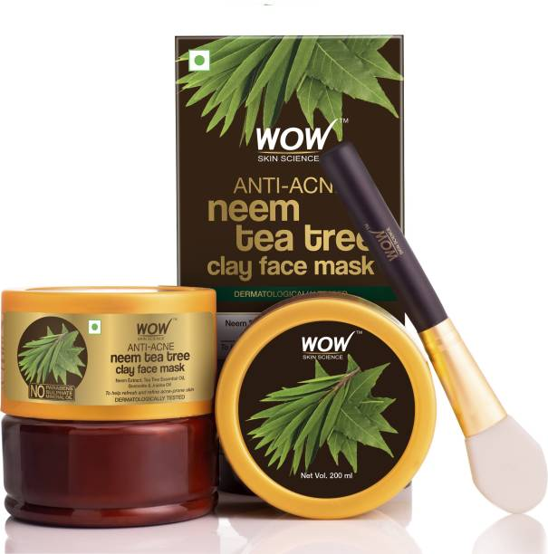WOW SKIN SCIENCE Anti-Acne Neem & Tea Tree Clay Face Mask for Refreshing & Refining Acne Prone Skin - No Parabens, Sulphate & Mineral Oil - 200mL
