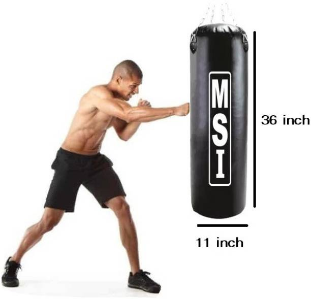 Monika Sports 3 Feet Long Punching Bag Unfilled With Hanging Chain For Muay Thai & Kick Boxing Boxing Kit
