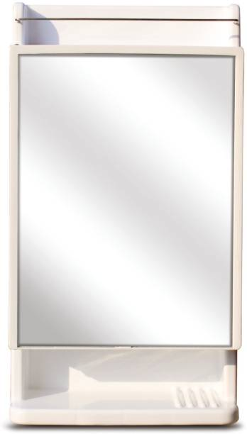 Branco Strong and Heavy Rich Look Storage Cabinet with Mirror - White Plastic, Glass Wall Shelf