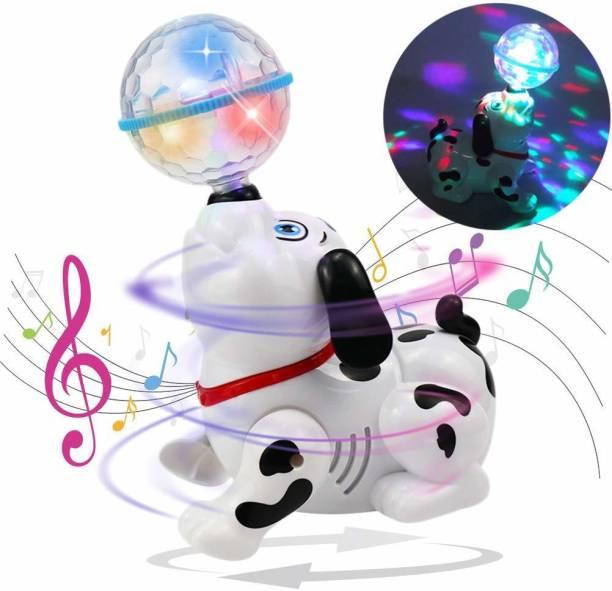 Jugnu Dancing 360 degree Rotating Dog Toy with Music, Sound, 3D LED Light for Baby Children Kids (Black & white)