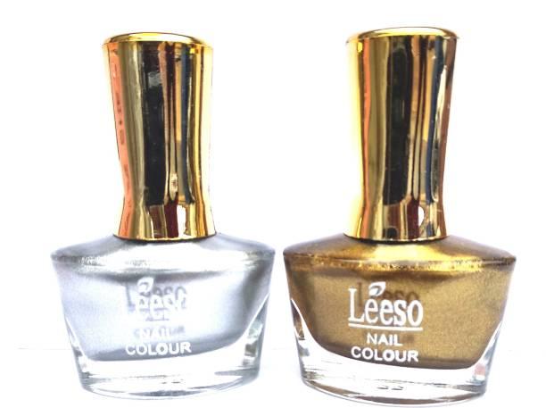 leeso POLISH HD COLORS HIGH SHINE LONG LASTING NON TOXIC MULTI COLOR SHADE PREMIUM PAINT SLIVER GOLDEN Silver + Golden