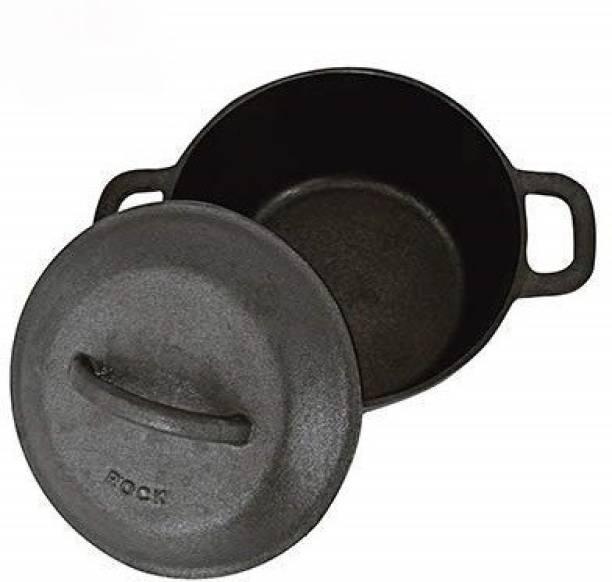 Rock Tawa Cast Iron Dutch Oven 3 Lits in Pre-Seasoned Cast Iron Skillet Pot 3 L with Lid