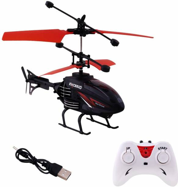 PEEHU Black Sturdy Indoor Helicopter for Kids - Only Up Down Controls on Remote - Hand Controlled 2-in-1 Type (Colour as per Stock)