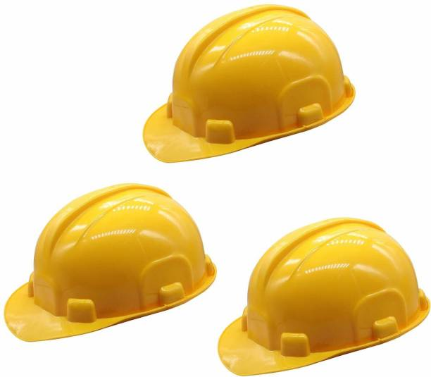 SAFEDOT SDH-401 NAPE Safety Helmet with Ratchet Adjustment & 6 Point Cradle Construction Worker HDPE Hat Personal Protective Equipment (Pack Of 3) Construction Helmet