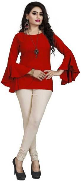 VEDUU Casual 3/4 Sleeve Solid Women Red Top