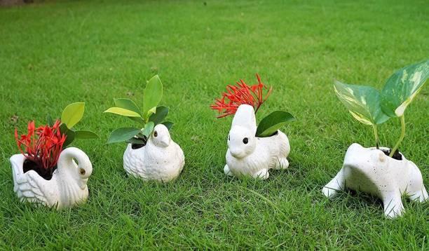 Bright Shop Handcrafted Ceramic Set of 4 , Swarn,Frog,Bird ,Rabbit Planter Pot, Ceramic Vase