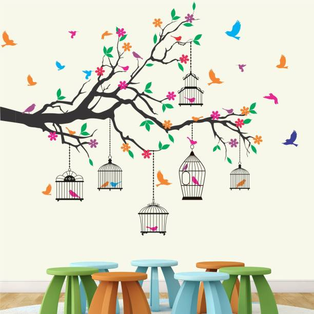 StickMe Nature Tree - Colorful - Birds - Cage - Wall Sticker -SM584-A
