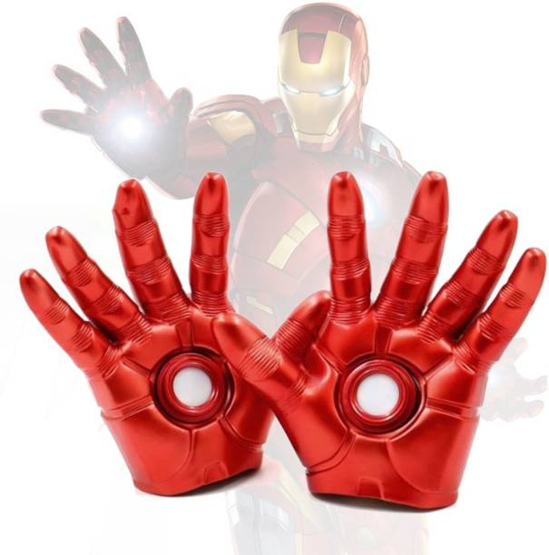 HALO NATION Avengers Endgame Iron Man Gloves PVC Action Figure Cosplay Ironman Gloves with Light Feature Model Toys iRONMAN RUBBERIZED GLOVES WITH LED LIGHT