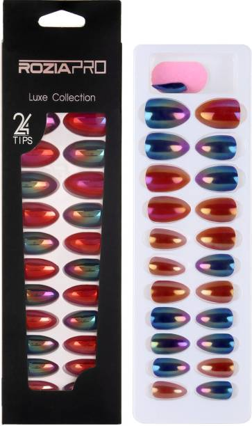ROZIA Artificial Nails Set Colorful Fake Nails, Full Cover Short Round UV Top Coat Artificial Acrylic Nails, Premium Salon Chrome False Nails with Glue Multicolor