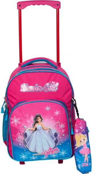 Indian Riders baby wonder girl School Kids Bag - 16 Inches- Queen Pink School Bag Trolley Bag Waterproof Trolley