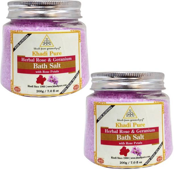 Khadi Pure Herbal Rose & Geranium Bath Salt with Rose Petals