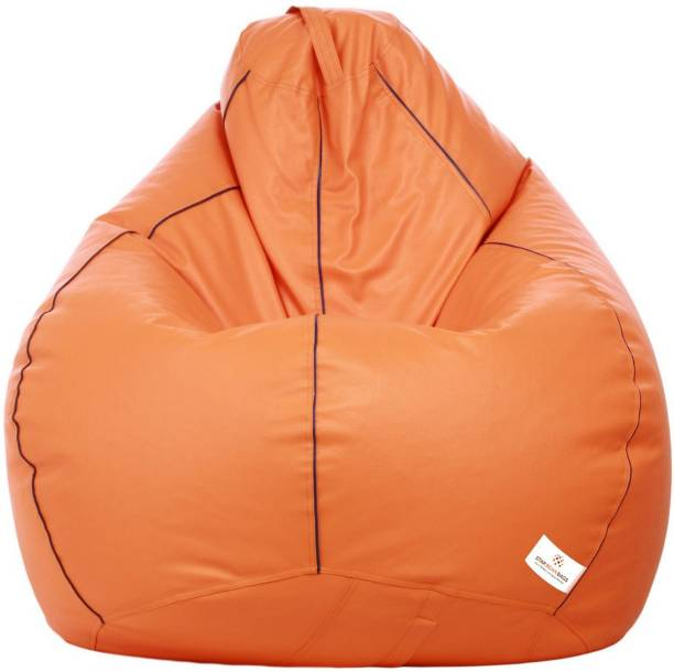 STAR XXXL Orange with Navy Blue Piping Teardrop Bean Bag  With Bean Filling