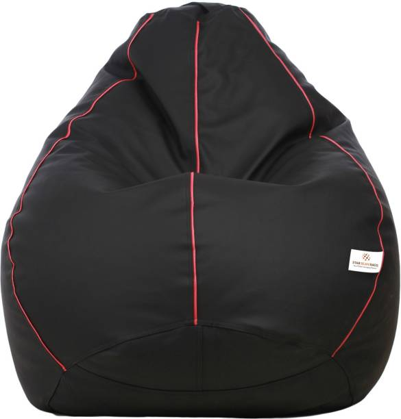 STAR XXXL Black with Pink Piping Teardrop Bean Bag  With Bean Filling