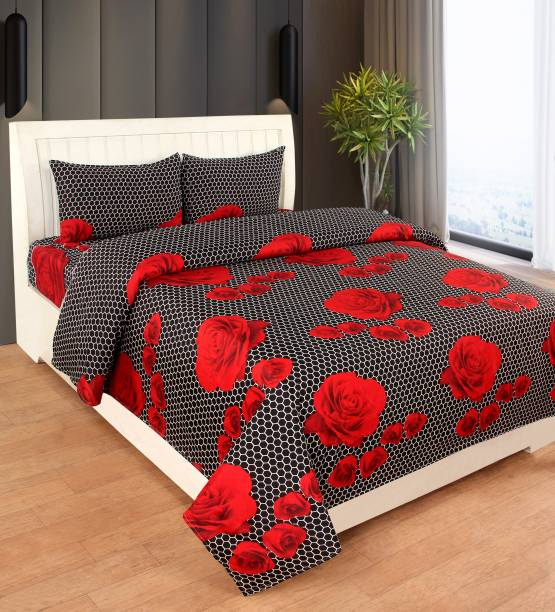 RISING STAR 104 TC Microfiber Double Floral Bedsheet