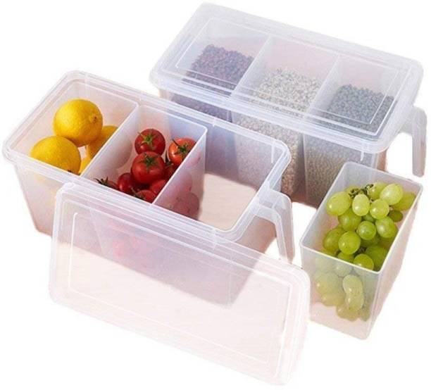 """YHK TRDEMART YH PLASTIC Refrigerator Organizer Container With Handle, Fruits,Dry fruits,Tea,Coffee,sugar,chiilli Powder Food Storage Organizer Boxes - Transparent with Lid and 3 Smaller Bins 2L (1 PCS)   """"CUSTOMER TRUST IS OUR SUCCESS."""" Storage Basket"""