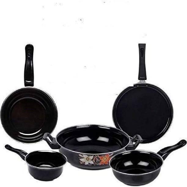 EVER N GREEN Cookware Set/Kadhai/Tawa/Frypan/Tadka/Sauce Pan/(Black) - 5 Pieces Induction Bottom Cookware Set