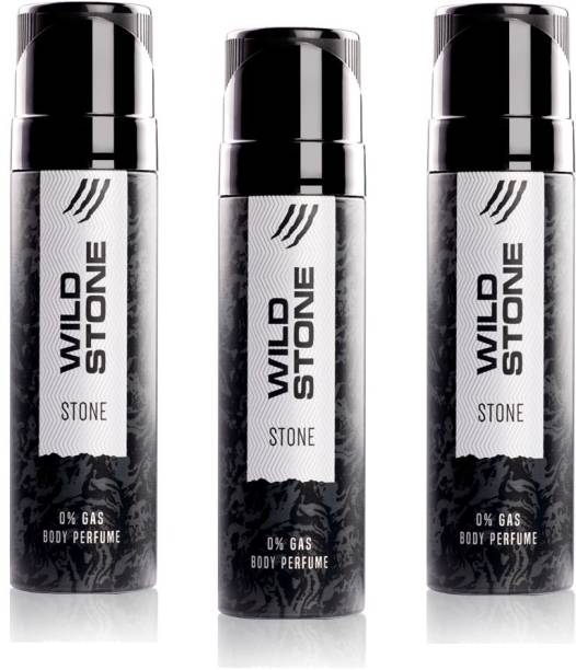 Wild Stone Stone 0% gas Body Perfume (pack of 3x120ml) Deodorant Spray  -  For Men & Women