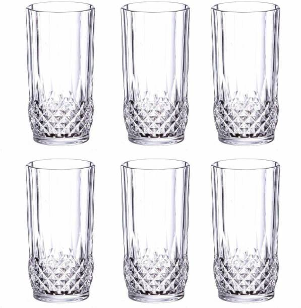 Shivshakti Kitchenware (Pack of 6) Crystal Spark Touch Seamless Water Juice Glass Set of 6 Pcs 325ml Glass Set