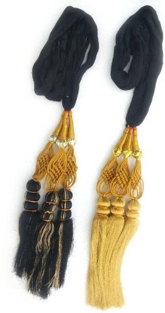 ONEX 2 pieces Punjabi Paranda Black & Golden Braid Extension